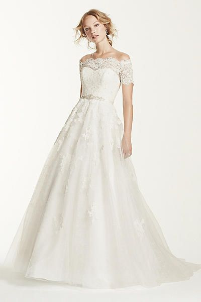Jewel Off The Shoulder Lace A-line Wedding Dress 4XLWG3728