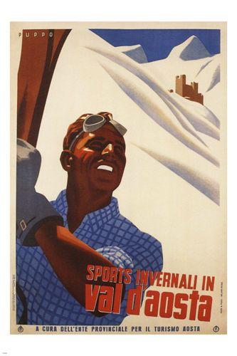 Aosta Valley Winter Sports Poster Giuseppe Riccobaldi Italy 1937 Snow 24x36 | eBay