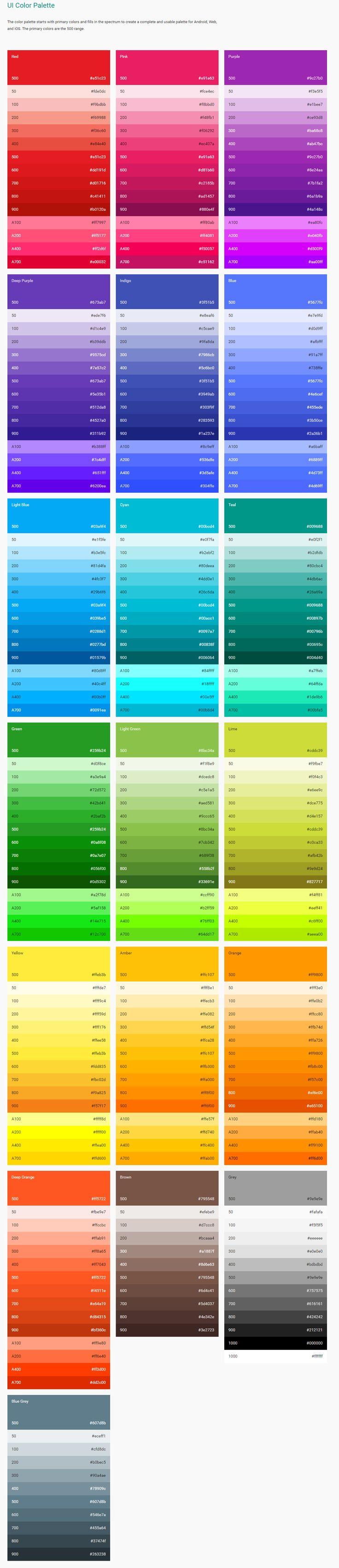 Google's 2014 Color Palette for Material Design  #google #MaterialDesign #design2014 #trends #googleUI