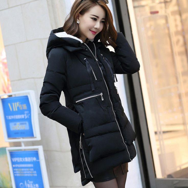 New Nice European M-5XL Fashion Casual Parkas Women Winter Military Coat Jacket Fur Hooded Long Cotton Female Loose Jackets 2425