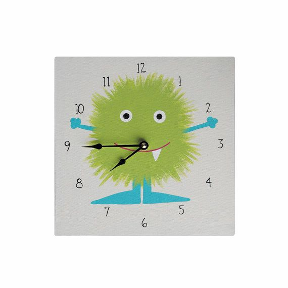 Children's Clock  Custom Hand Painted Kids Wall Clock by Coolisart