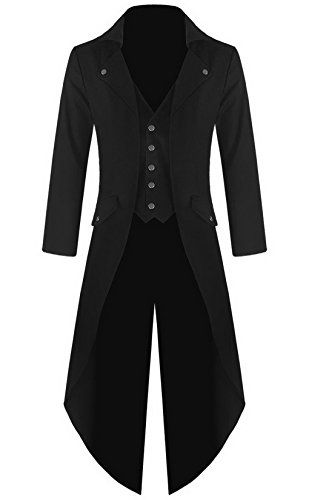 [] Mens Gothic Tailcoat Jacket Black Steampunk VTG Victorian Coat (XL, Black) []---