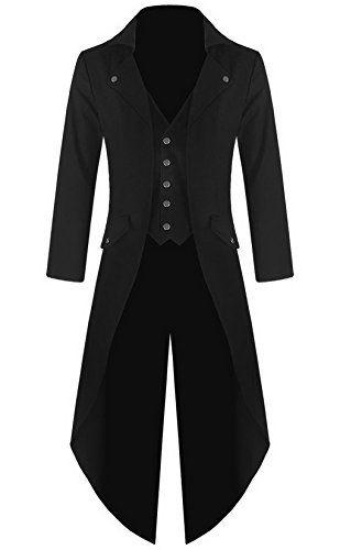 [] Mens Gothic Tailcoat Jacket Black Steampunk VTG Victorian Coat (XL, Black) []--- More