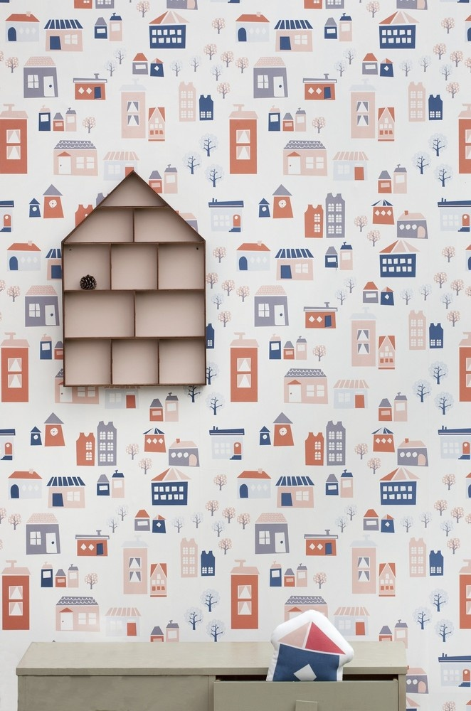 wall paper for a kids room. darling!: Ferm Living, Dolls Houses, Village Wallpapers, Wall Paper, Kids Wallpapers, Houses Prints Wallpapers, Living Wallpapers, Accent Wall, Kids Rooms