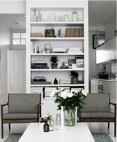 Living room with built in shelf