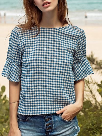 Ruffle Sleeve Low Back Gingham Top BLUE: Blouses | ZAFUL