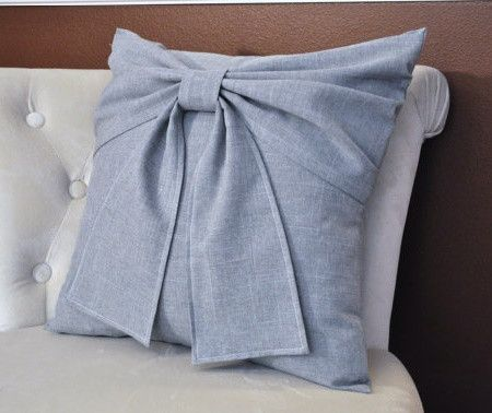 Grey Bow Pillow #accent_pillow #baby_nursery_decor #bedroom