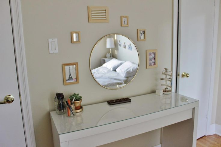 Echanting Vanity Set IKEA with Rounded Mirror and Glass Top White