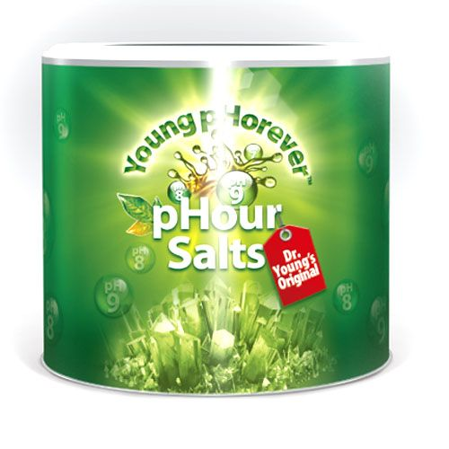PHOUR SALTS pHour Salts Young pHorever es una combinación única de cuatro potentes sales carbonatadas (bicarbonato de sodio, carbonato de magnesio, bicarbonato de potasio y bicarbonato de calcio), que ayuda a mantener el diseño alcalino del cuerpo humano, plantas y otros organismos vivos. http://www.alkalinecare.com/productos/phour-salts---young-phorever/6