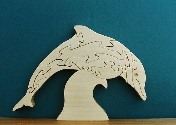 Des dauphins Sur la vague bois Puzzle coupé par DukesScrollSaw