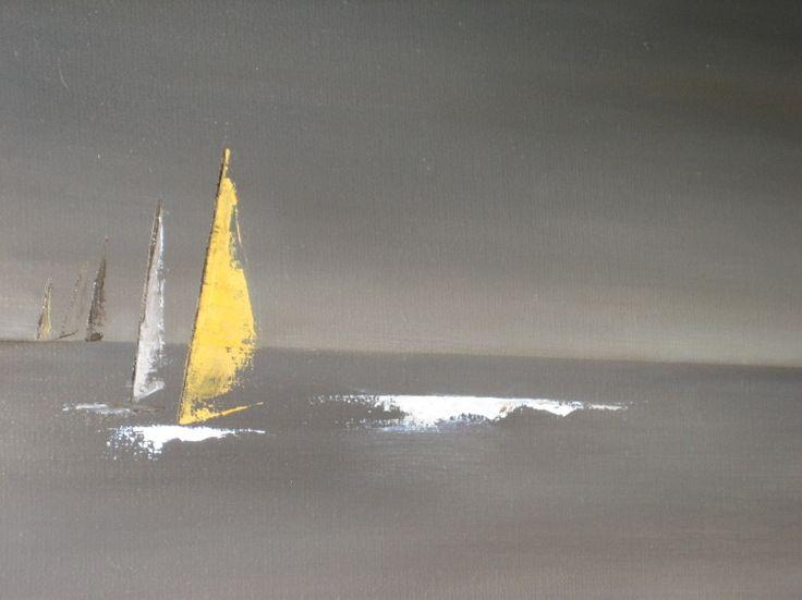 TABLEAU PEINTURE voiles bateaux noir horizon - Course en mer