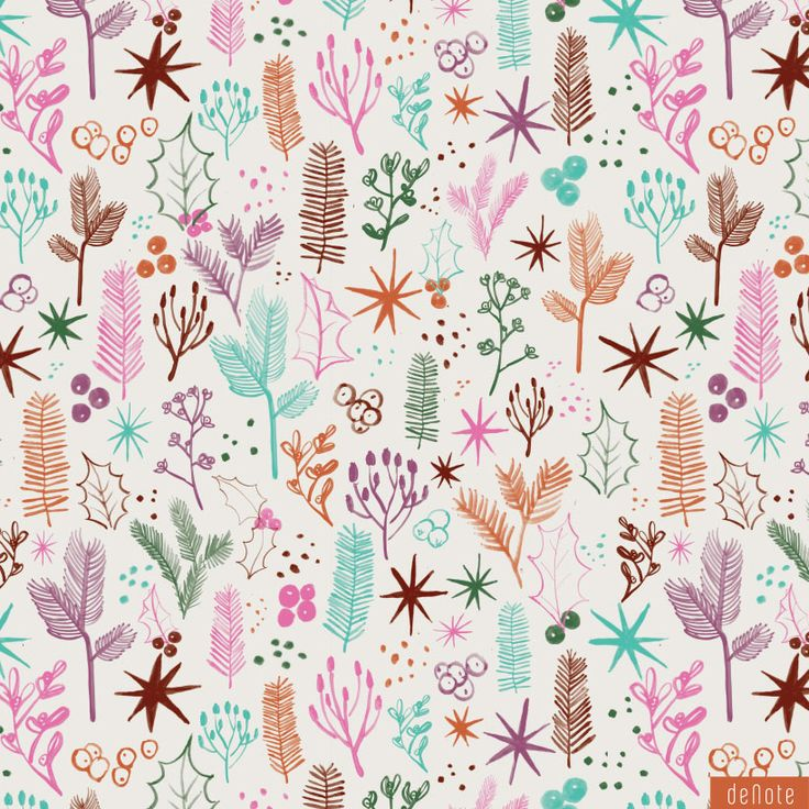 Christmas/Winter foliage pattern - by Denote Stationery & Design