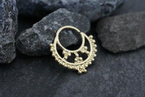 Gold Septum Ring 16G Septum Jewelry Aztec Tribal by MyBodiArt