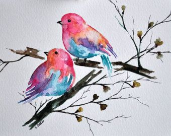 ORIGINAL Watercolor Painting Bird and Pink by ArtCornerShop