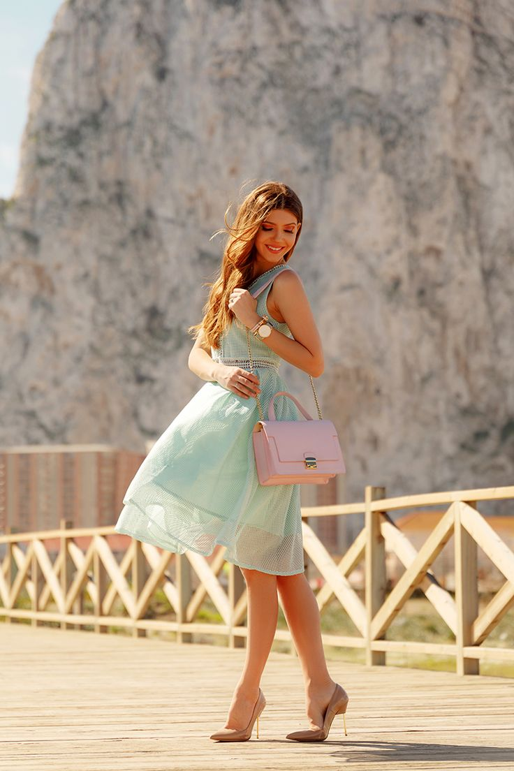 Mint @chic_wish dress right in front of the Rock of Gibraltar,today on my blog: http://larisacostea.com/2017/04/rock-of-gibraltar/