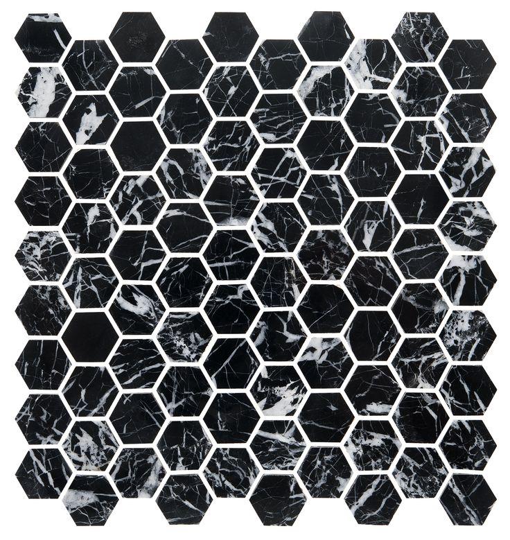Bricmate U Hexagon Nero Marquina, marmor med naturliga skiftningar.