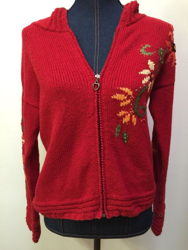 Planet Earth Sweaters Women's Size Medium Red Hooded Floral Pattern Full Zip Up    eBay