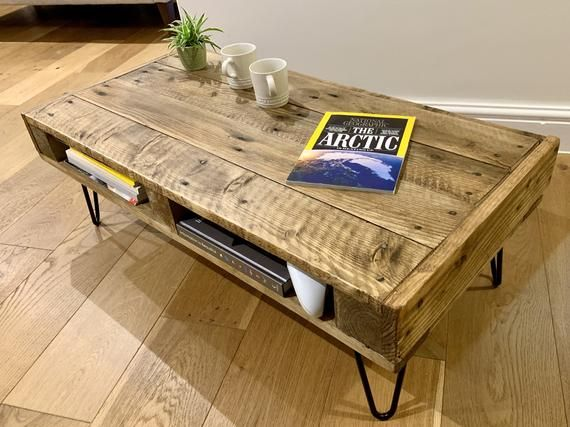 Handmade Rustic Coffee Table Sofa Table With Storage Made From Reclaimed Industrial Wood Upcycled Pallet Furniture Range In 2020 Sofa Table With Storage Coffee Table Rustic Coffee Tables
