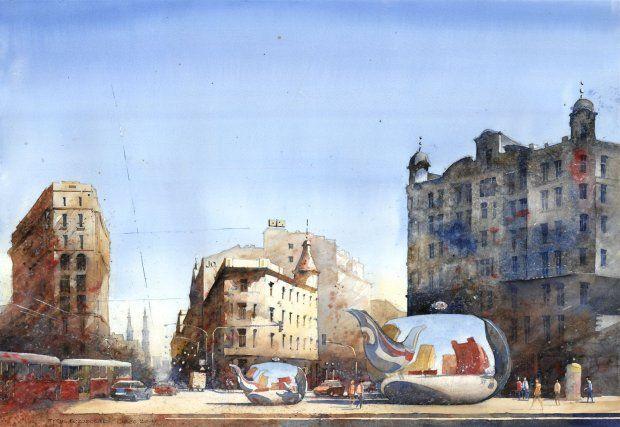 Warsaw cityscape, watercolor by Tytus Brzozowski
