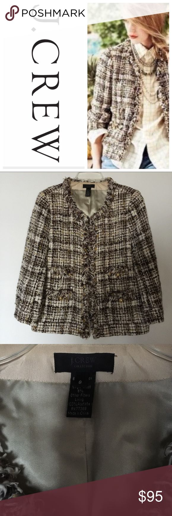 J Crew Collection jacket - size 8 J Crew Collection jacket - size 8. Gorgeous tweed with raw edge trim. Two hook-and-eye closures. Fully lined. Cotton and virgin wool. Excellent condition. J. Crew Jackets & Coats