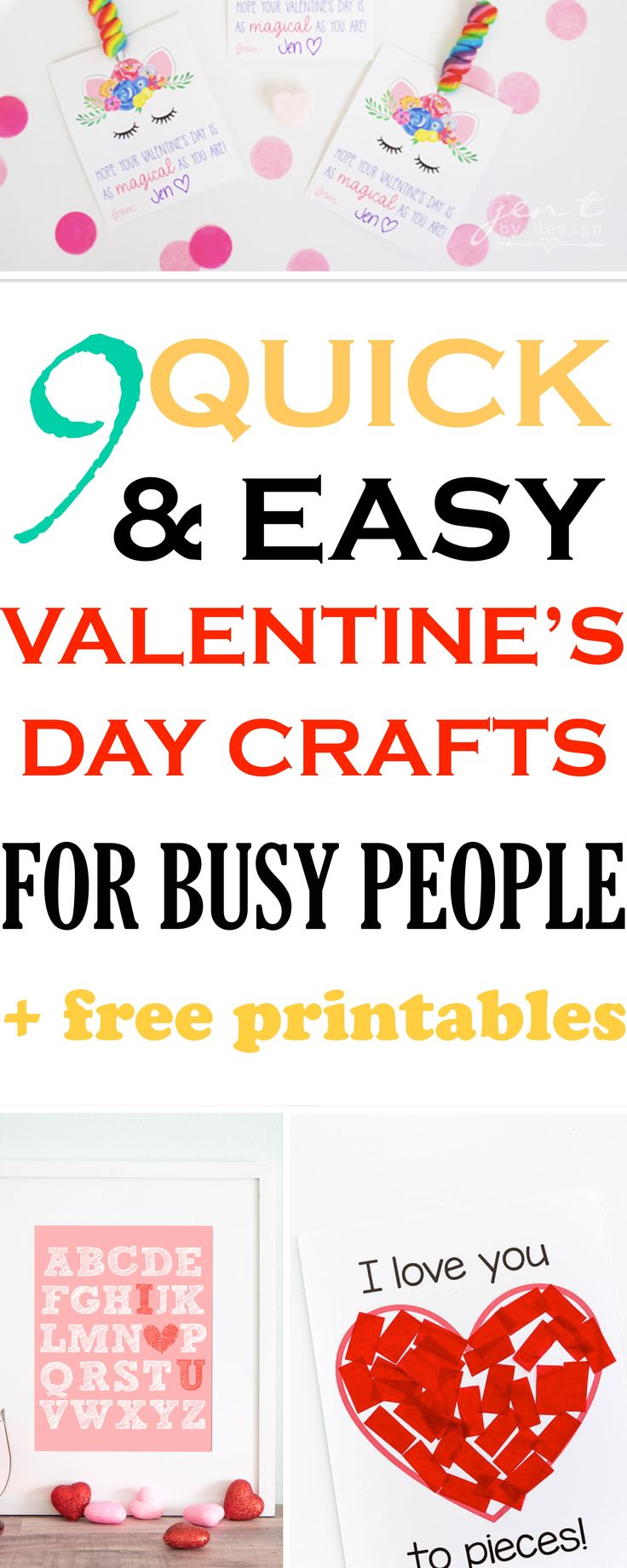Awesome Valentine's Day crafts with FREE PRINTABLES. If you need last minute quick and easy crafts, these are perfect ideas. #valentinesday #craftsforkids #crafts #diy #easycrafts