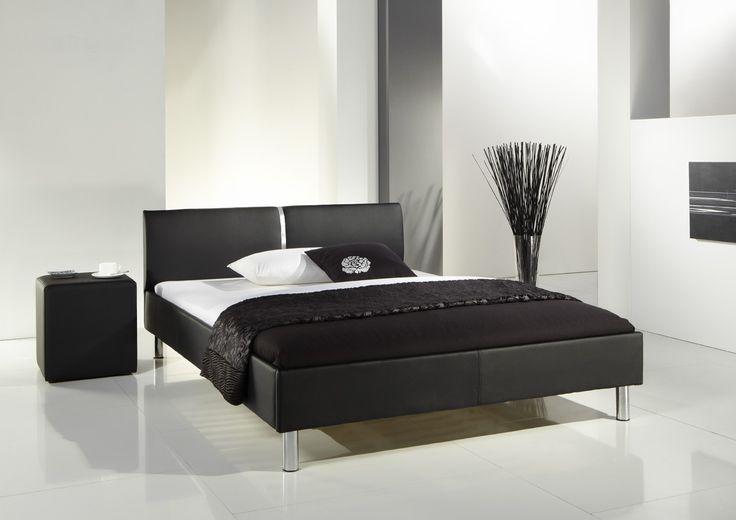LAOLA czarne łóżko tapicerowane ekoskóra