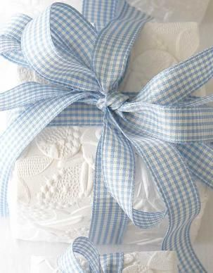 embossed paper and gingham, gorgeous gift wrap: Baby Blue, Baby Gifts, Ribbons, Gifts Wraps, Favors Boxes, Baby Boys Gifts, Blue Gingham, Boys Baby Shower, Blue And White