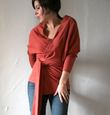 short little belted wrap cardigan to wear over a tank, camisole or dress.