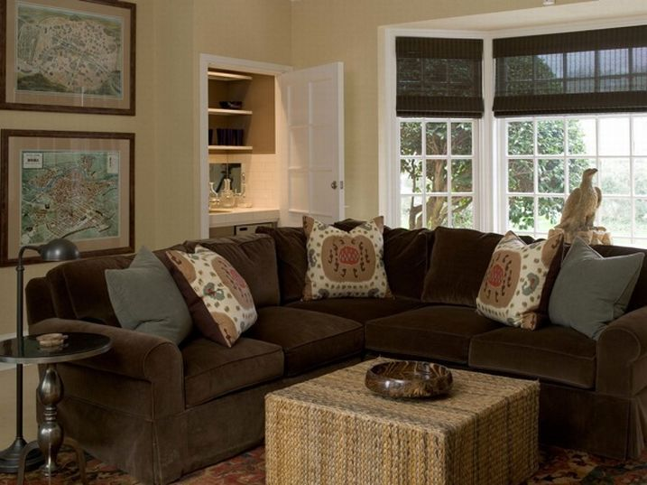 colors for living room with brown furniture. living rooms  chocolate brown velvet sectional sofa slate gray pillows woven ottoman cocktail table aluminum Best 25 Brown decor ideas on Pinterest