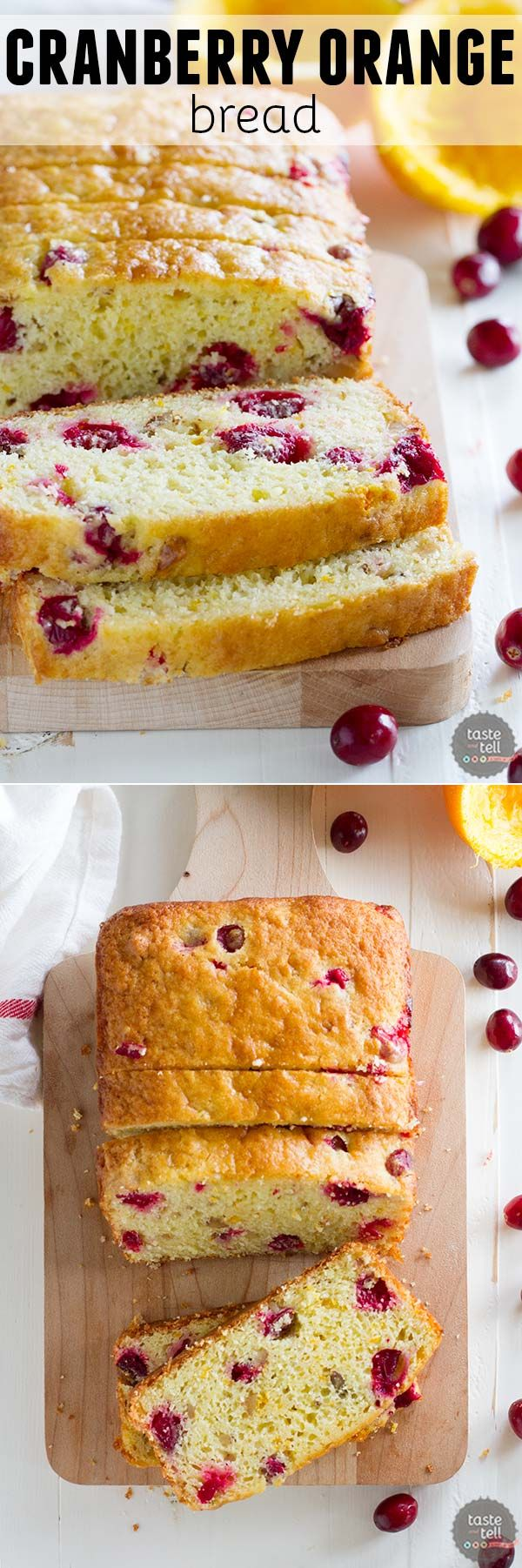 Tart cranberries and sweet orange juice combine to make this Cranberry Orange Bread that is perfect for breakfast or brunch, or even for dessert!