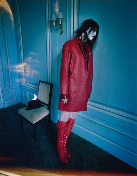 Charlotte Gainsbourg for Current/Elliott coat; Anthony Vaccarello shirt; Valentino Garavani boots.Hair by Cyril Laloue at Julian Watson Agency; makeup by Sam Bryant at D+V Management. Set design by Rhea Thierstein. Produced by Jeffrey Delich at Padbury Production.