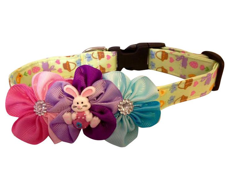 SPIFFY POOCHES EASTER Dog Puppy Collar + Flower Accessory XS SM MED LG XL  #SPIFFYPOOCHES