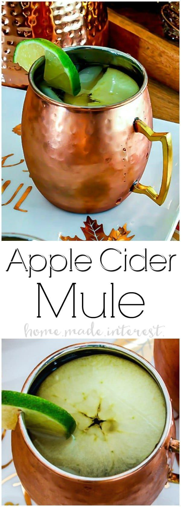 Apple Cider Mule | This Apple Cider Mule is going to be your favorite fall cocktail recipe! Apple Cider, vodka and ginger beer combined to make a fall moscow mule. Need a Halloween party cocktail or Halloween drink recipe? Your friends are going to love this fall cocktail recipe! AD