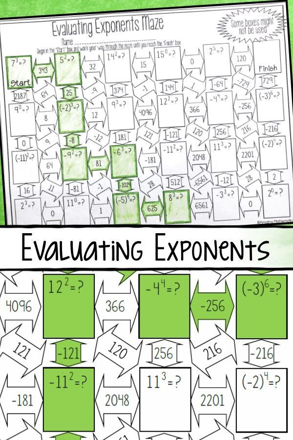 Evaluating Exponents Worksheet Maze Activity Writing Fractions 7th Grade Math Worksheets Middle School Math