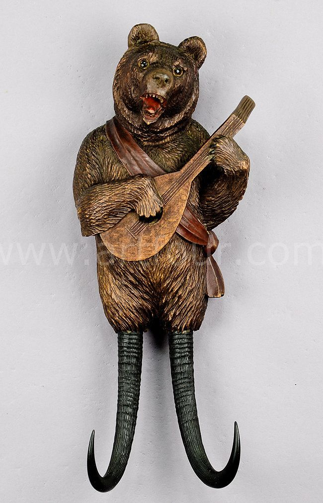 Black forest carvings | black forest carved wood bear whip holder with music, brienz ca. 1890