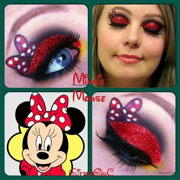 Minnie mouse inspired eye makeup, art.