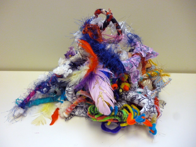 Collaborative fibre sculpture created during a 2012 mixed media residency with Ann Haessel.