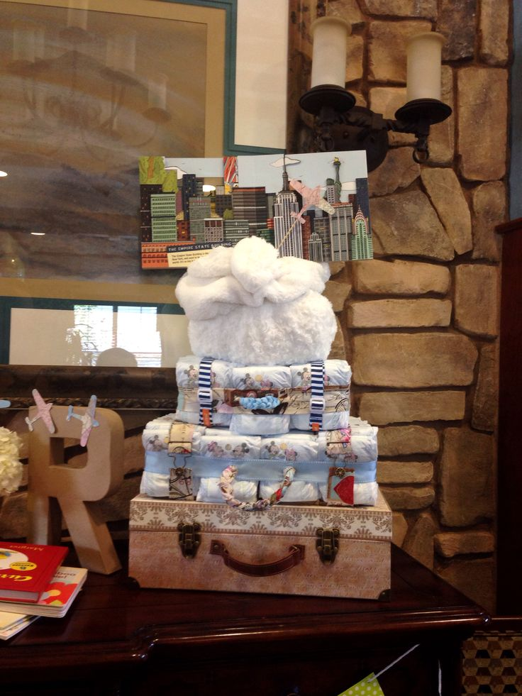 A Suitcase Diaper Cake For A Traveler Themed Baby Shower