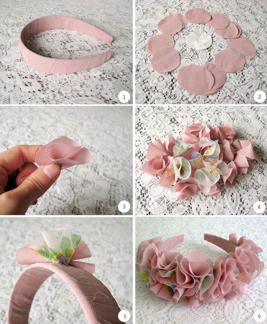 Diadema con flores 💐 de tela puede ser de reciclaje