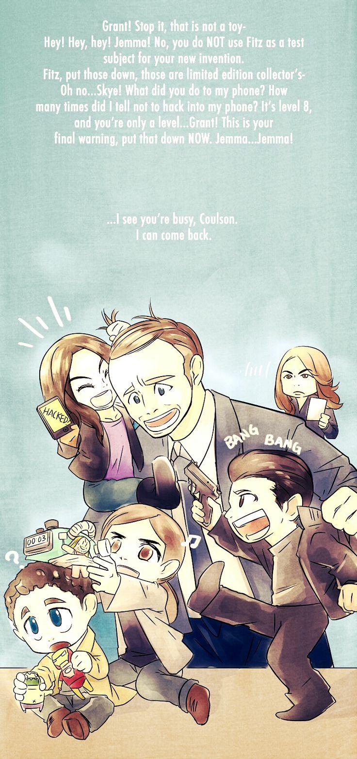 Daddy Coulson by piggyhoho || Phil Coulson, Skye, Grant Ward, Jemma Simmons, Leo Fitz || 736px × 1,564px || #fanart #humor