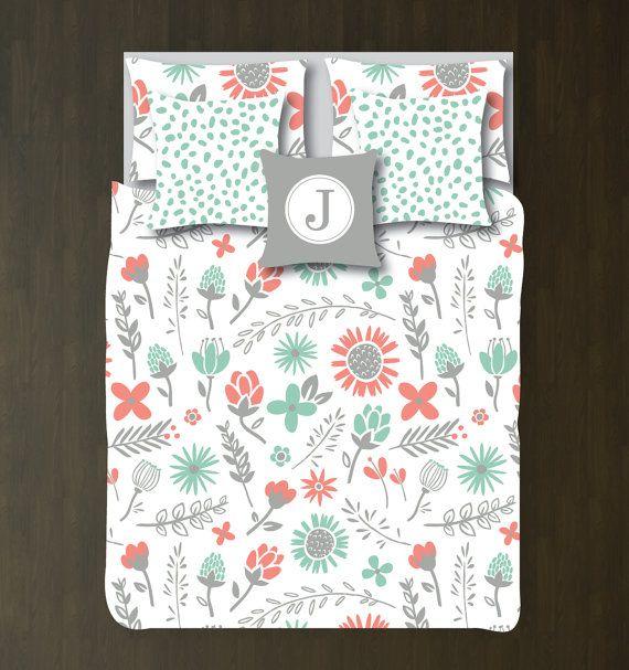 Floral Bedding Set Duvet Cover Shams Grayed Jade Coral