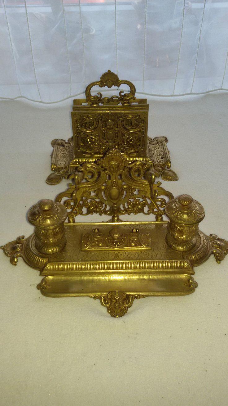 Schöne,Alte Und Seltene Schreibtischgarnitur, Schreibtisch Ablage,  Tintenfass. In Antiquitäten U0026 Kunst