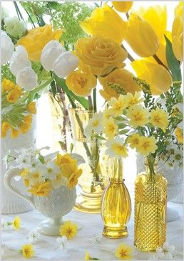 Wedding ● Reception Décor ● Yellow & white Tulips, Vintage Glass