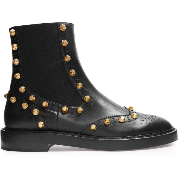 Balenciaga Studded brogue chelsea boots ($1,015) ❤ liked on Polyvore featuring shoes, boots, black chelsea ankle boots, black chelsea boots, chelsea boots, balenciaga shoes and real leather boots