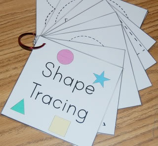 Shape tracing & other shape activities (laminate, white board marker - september)