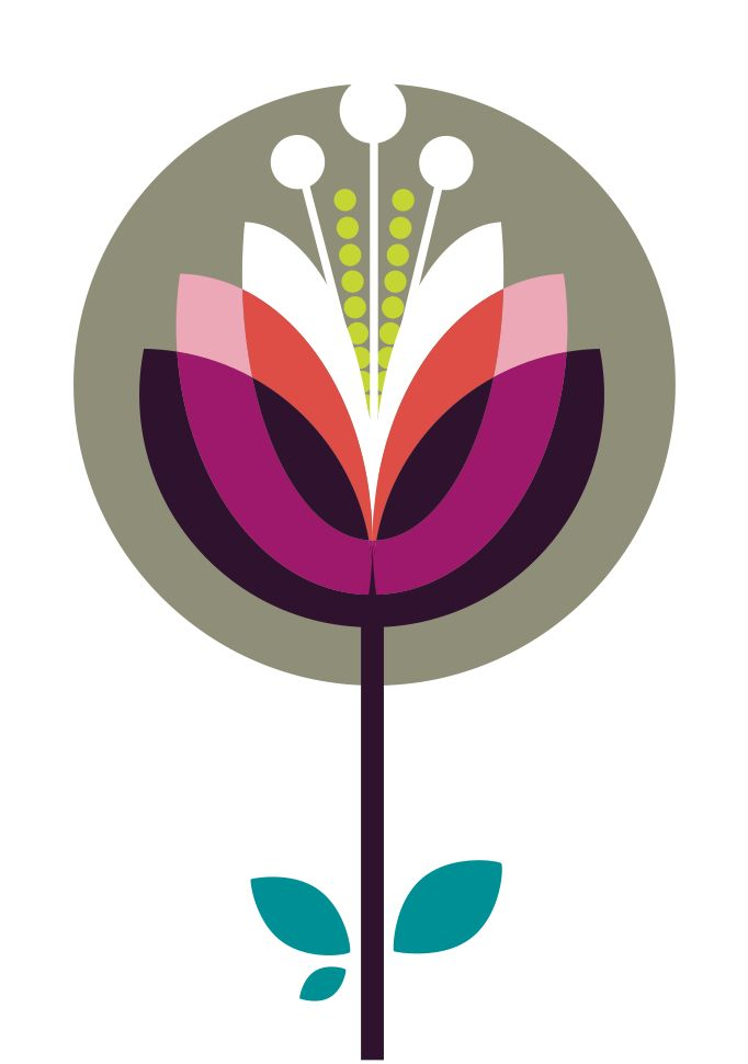 Graphic Retro lotus flower