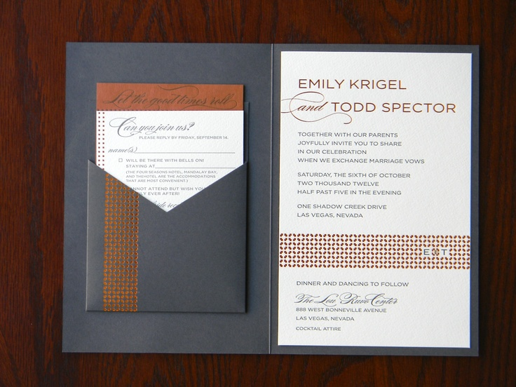 The interior of the invitation—elegantly printed with steel gray #letterpress and #copper #foil, and embellished with a #crystal #jewel. The interior pocket hosts the details card and reply card. In conjunction with our exclusive partner, @Spark Nardo Letterpress. www.paperandhome.com