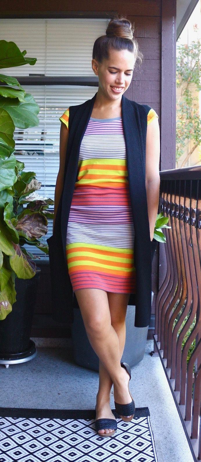 Jules in Flats - Target Striped T-Shirt Dress with Artizia Dunkirk Sweater Vest