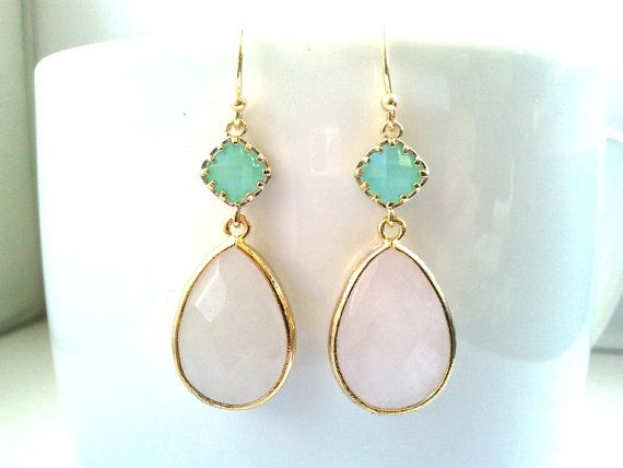 Mint and White pinky Wedding earrings, Drop, bridesmaid giftsWedding jewelry,Christmas earrings,Dangle, christmas gift, cocktail jewelry on Etsy, $32.00