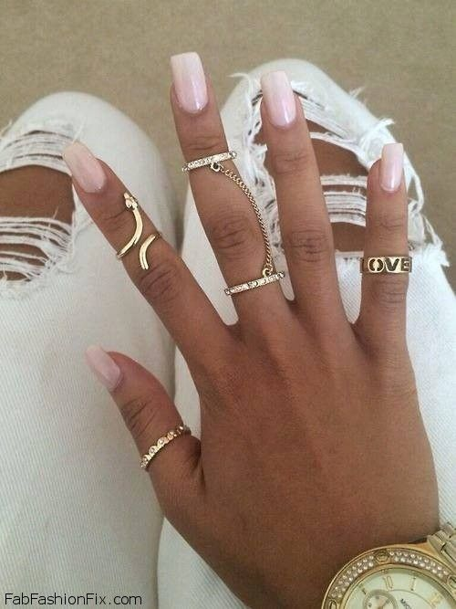 Gorgeous nude nails and golden jewelry inspiration. #nails